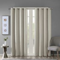 SunSmart Maya Heathered Grommet-Top Room Darkening Window Curtain Panel in Taupe