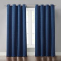 Malta 63-Inch Grommet Light-Blocking Window Curtain Panel in Dark Blue