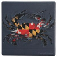 Thirstystone® Dolomite Ripped Maryland Crab Single Round Coaster