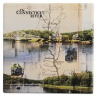 Thirstystone® Dolomite Conneticut River Collage Single Round Coaster