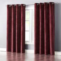 Wonder Home Audrey 63-Inch Grommet-Top Blackout Velvet Window Curtain Panel in Red