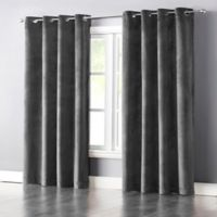 Wonder Home Audrey 95-Inch Grommet-Top Blackout Velvet Window Curtain Panel in Charcoal