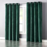 Wonder Home Audrey 95-Inch Grommet-Top Blackout Velvet Window Curtain Panel in Turquoise
