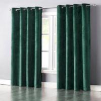 Wonder Home Audrey 84-Inch Grommet-Top Blackout Velvet Window Curtain Panel in Turquoise