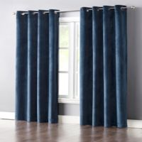 Wonder Home Audrey 63-Inch Grommet-Top Blackout Velvet Window Curtain Panel in Blue