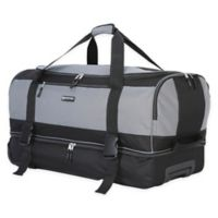 Traveler's Club® XPedition™ 30-Inch Rolling Drop-Bottom Duffle Bag in Black/Grey