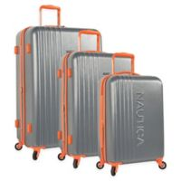 Nautica® Life Boat 3-Piece Hardside Spinner Luggage Set in Dark Grey/Classic Orange