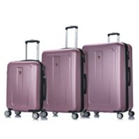DUKAP® Crypto 3-Piece Hardside Spinner Luggage Set in Rose Gold
