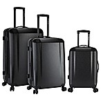 Kensie 3-Piece Hardside Spinner Luggage Set in Matte Black