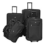 American Flyer Brooklyn 4-Piece Rolling Luggage Set in Black