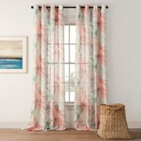 Palm Leaf 95-Inch Grommet-Top Window Curtain Panel in Coral