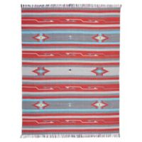 Nourison Baja Striped 8' x 10' Hand-Woven Area Rug in Grey/Red