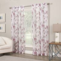 Crushed Voile Print 108-Inch Sheer Window Curtain Panel in Amethyst