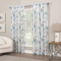 Crushed Voile Print 95-Inch Sheer Window Curtain Panel in Jade