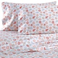 Coastal Life Shells 300-Thread-Count Twin Sheet Set in Neutral