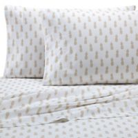Coastal Life Pineapple 300-Thread-Count Twin Sheet Set in Gold