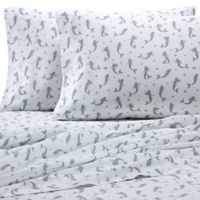 Coastal Print Mermaid 300-Thread-Count King Sheet Set in Grey
