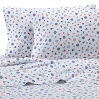 Coastal Print Ditzy Nautical 300-Thread-Count California King Sheet Set in Navy/Red