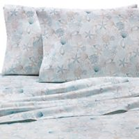 Coastal Life Shells 300-Thread-Count King Sheet Set in Seafoam