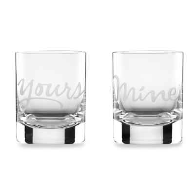 "kate spade new york Two of a Kind™ ""Mine"" & ""Yours"" Double Old Fashioned Glasses (Set of 2)"