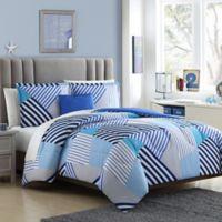 Axel 4-Piece Reversible Full/Queen Comforter Set in Black/White
