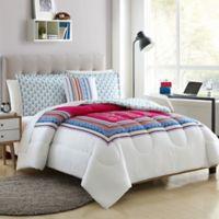 Elephant 3-Piece Reversible Twin XL Comforter Set in Pink/Teal