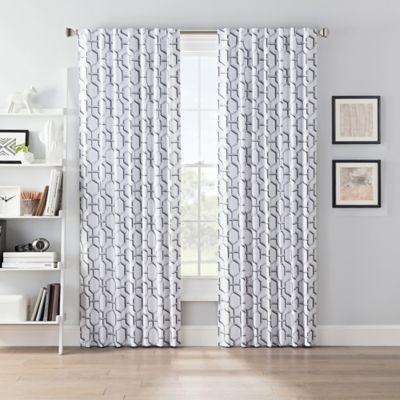 Smartblock Chroma 84 Inch Back Tab Blackout Window Curtain Panel In Grey White