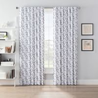 SmartBlock™ Chroma 84-Inch Back Tab Blackout Window Curtain Panel in Grey/White