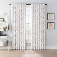 SmartBlock™ Chroma 63-Inch Back Tab Blackout Window Curtain Panel in Tan/White