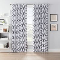 SmartBlock™ Chroma 84-Inch Back Tab Blackout Window Curtain Panel in White/Black