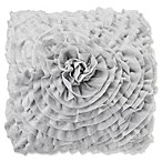 All Over Ruffle Jersey 18-Inch Square Throw Pillow in Light Grey