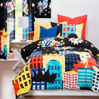 "Learning Linens ""Be Super"" Reversible Full/Queen Comforter Set in Black/Blue"
