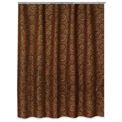Popular Bath Cascade Shower Curtain In Burgundy