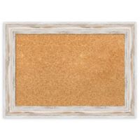 Amanti Art Small Framed Cork Board with Alexandria Whitewash