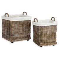 Safavieh Amari Rattan Square Baskets with Wheels in Natural (Set of 2)