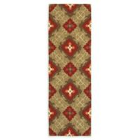 Tommy Bahama Atrium Geometric 2'6 x 8' Indoor/Outdoor Runner in Red/Brown