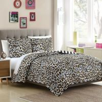 Leopard Reversible Full/Queen Quilt Set in Brown/Black