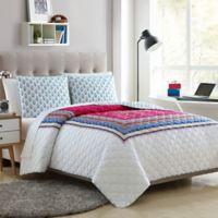 Elephant 4-Piece Reversible Full/Queen Quilt Set in Pink/Teal