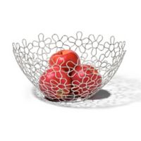 Spectrum Shapes Flowers Metal Fruit Bowl in Chrome