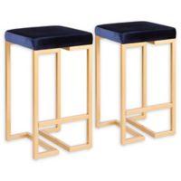 Lumisource™ Velvet Upholstered Bar Stools in Gold/Blue (Set of 2)