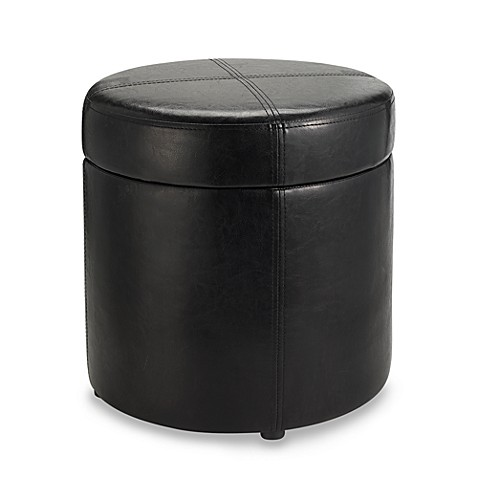 round black faux leather storage ottoman bed bath beyond. Black Bedroom Furniture Sets. Home Design Ideas
