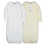 Gerber® Size 0-6M 2-Pack Cloud Gowns in Teal/Yellow