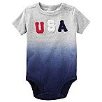 "OshKosh B'gosh® Size 0-3M Dip-Dyed ""USA"" Bodysuit in Blue"