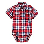 OshKosh B'gosh® Size 0-3M Short Sleeve Plaid Bodysuit in Red/Blue