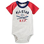 Oshkosh B'gosh® Size 0-3M Short Sleeve All-Star Raglan Bodysuit in Grey Heather