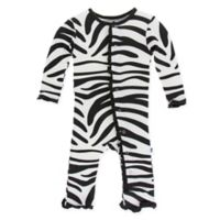 KicKee Pants® Newborn Zebra Long Sleeve Coverall in Black/White