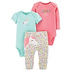 carter's® Preemie 3-Piece Unicorn Bodysuit and Pant Set in Pink/Teal