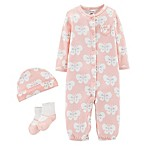 carter's® Preemie 3-Piece Babysoft Butterfly Converter Gown Take-Me-Home Set in Pink