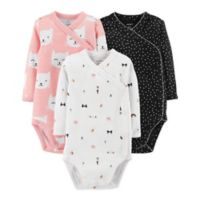 carter's® Preemie 3-Pack Kimono Kitty Long Sleeve Bodysuits in Pink