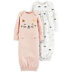 carter's® Preemie 2-Pack Cat Print Long Sleeve Sleeper Gowns in Pink
